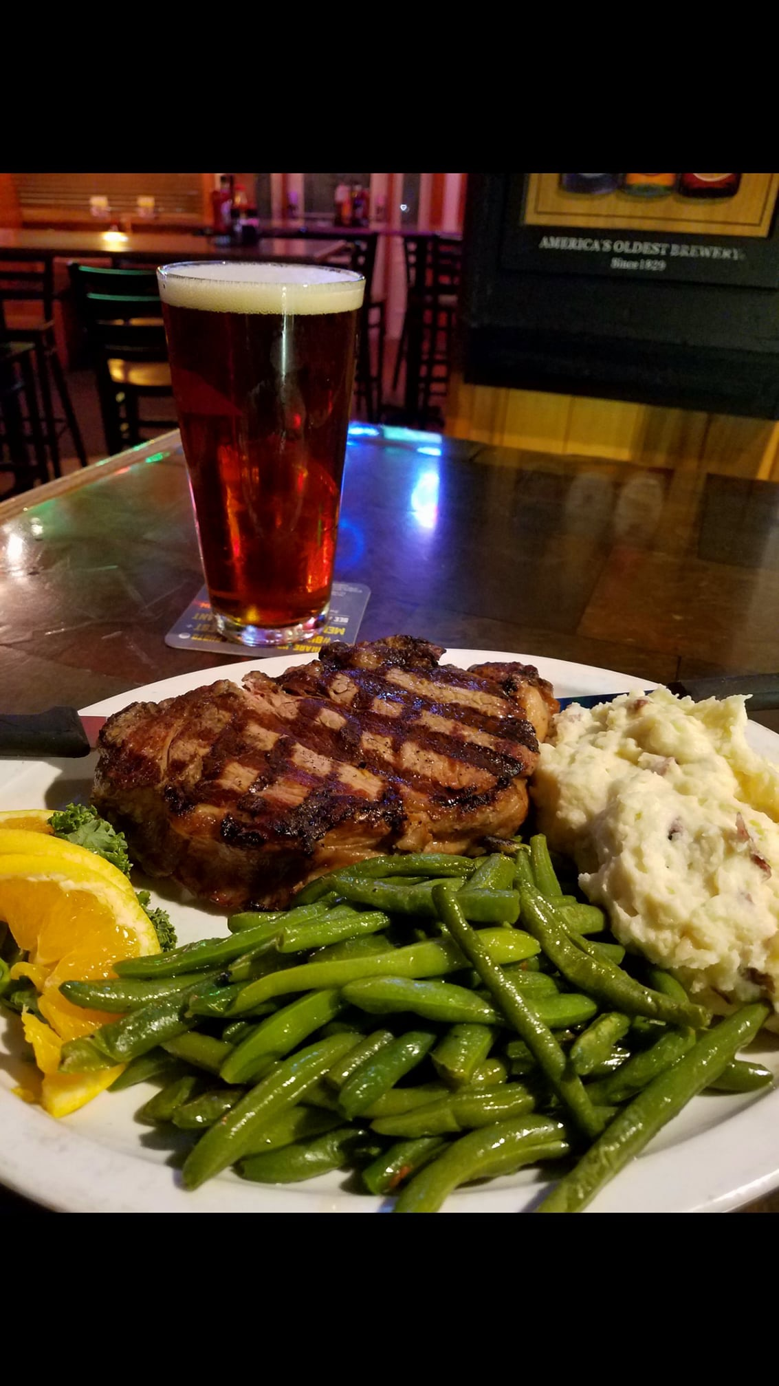 Steak Mashed Potatoes and Green Beans